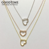 Simple Style Heart Necklace Silver 925 Women Jewelry Real Solid Sterling Silver Jewelry 3 Colors Link