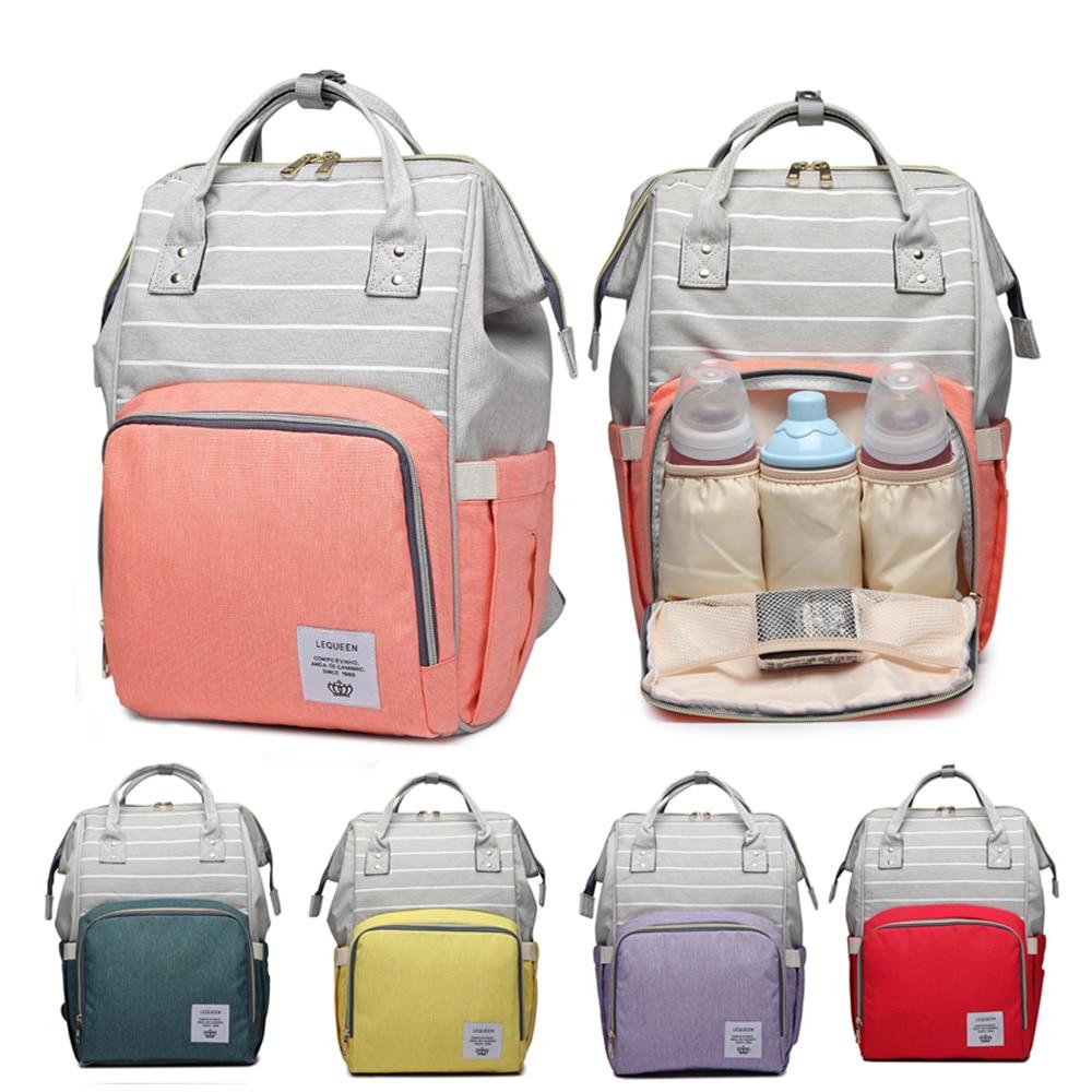 Image 2 - Fashion Mummy Bag Striped Maternity Nappy Bag Large Capacity Baby Bag Travel Backpack Designer Nursing Bag for Baby CareDiaper Bags   -