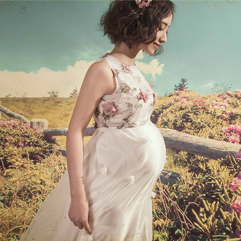 Ankle-length Flower Maternity Photography Props Long Pregnancy Dress for Photo Shoot Summer Maxi Maternity Gown