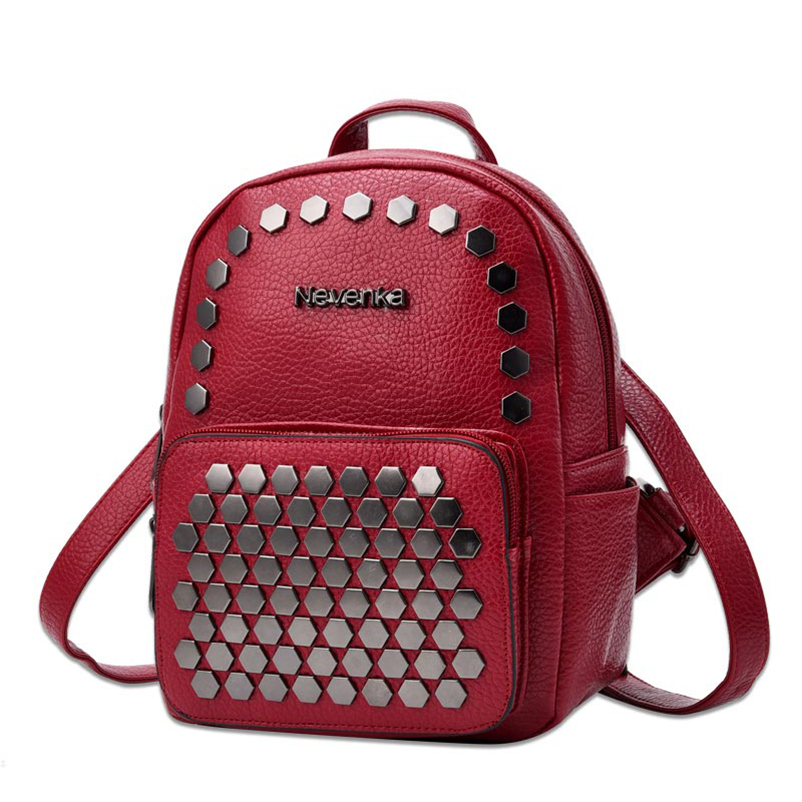 Nevenka Fashion Women Bag School Lady Backpack PU Leather Bags Student Shoulder Bag Casual Female Backpacks Softback Bags Sac12