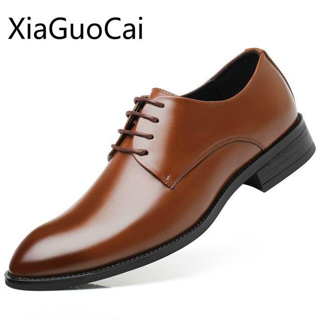 Todas as Temporadas de Moda Homens Sapatos Casuais Altura Crescente Sneakers Planas Oxfords Masculinos Casuais Masculinos de Couro À Prova D' Água