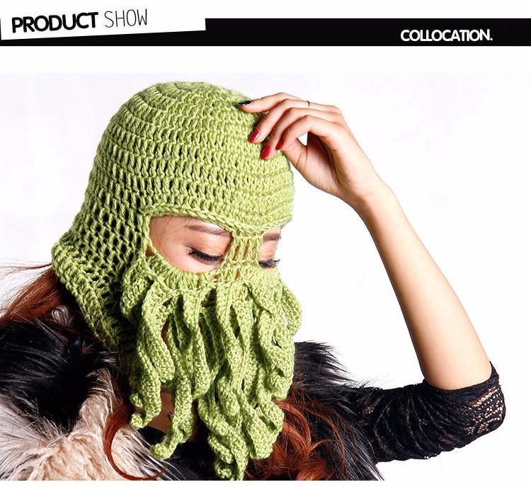 03bced5ce99 Handmade Funny Animal Cthulu Beards Tentacle Octopus Cthulhu Knit ...