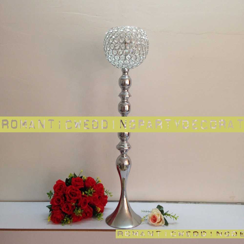 88cm 34.6 Silver Wedding Flower Vase Bling Crystal Table Centerpiece Sparkling Ball Wedding Decoration 10pcs/lot Candle Holders