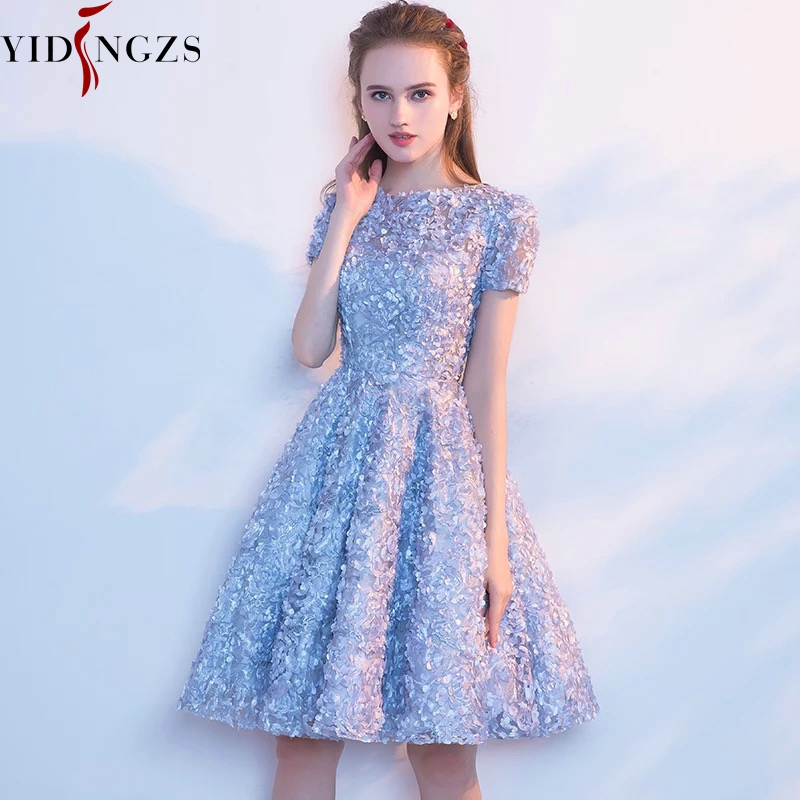 YIDINGZS Elegant Gray Lace Prom Dress Simple Short Party Formal Gown