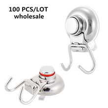 100 Pcs Wholesale Stainless Steel Suction Cup Hook Double Wall Bath Towel Heavy Duty Holds Vacuum suction