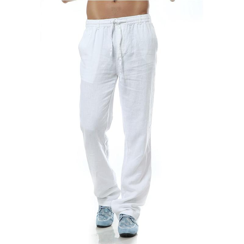 Pantalon Homme Casual Trousers Men Linen Pants Men Brand Pants Men Linen Loose Style Flax Mens Pants Men Clothing