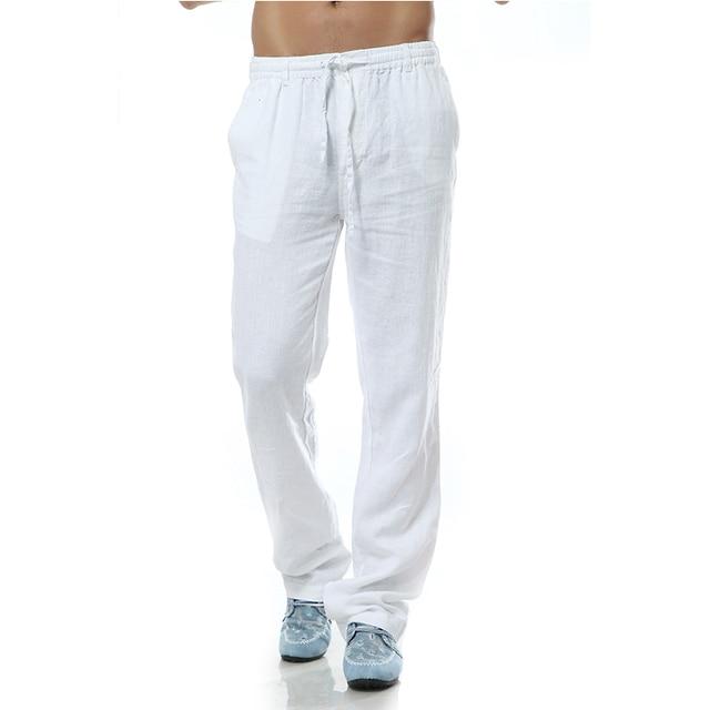 5bf259e815 Pantalon homme Casual Trousers men Linen pants men brand pants men linen  loose style Flax Mens