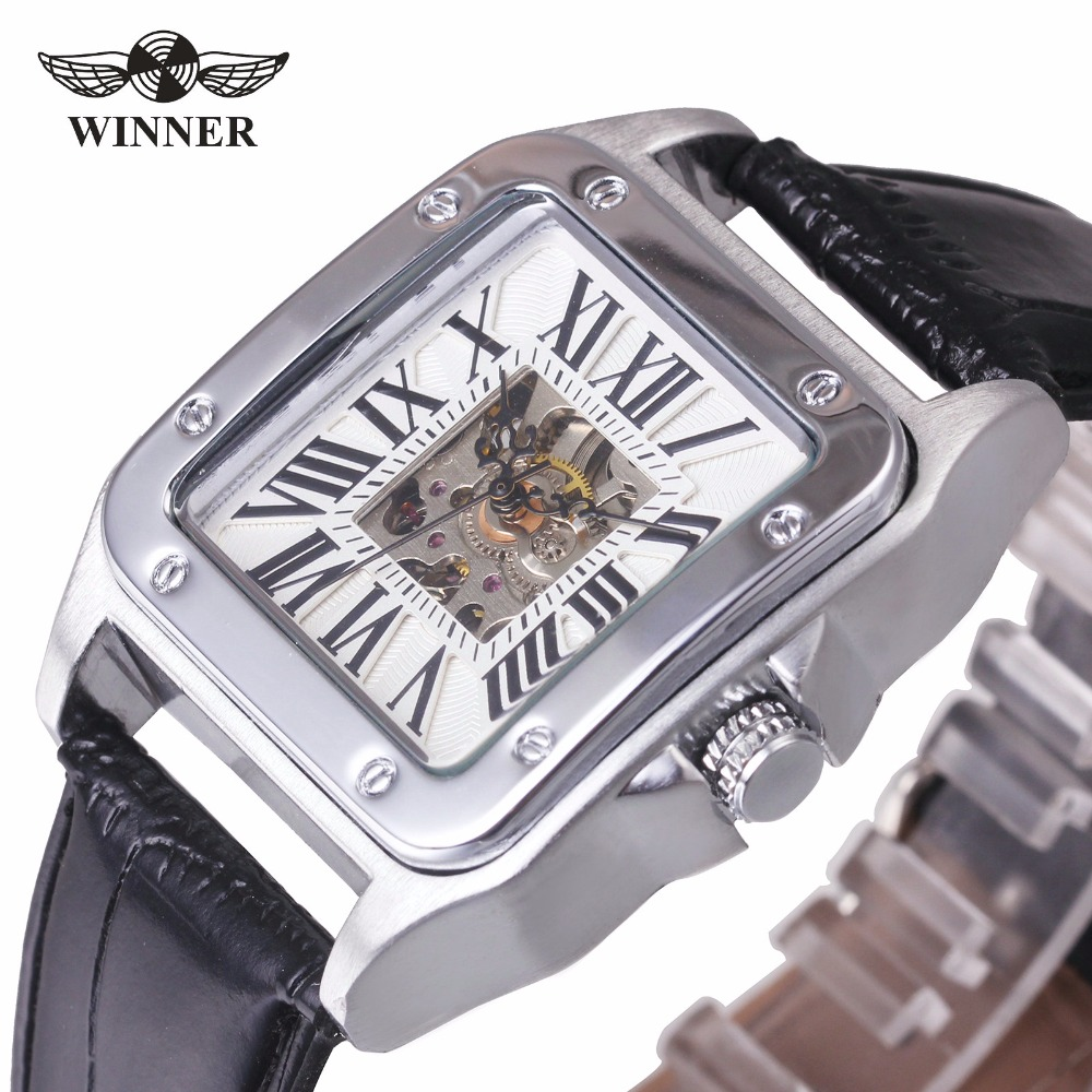 T-WINNER Men Classic Automatic Mechanical Wrist Watch Leather Band Roman Number Hollow Dial Square Case Unique Design + GIFT BOX winner men posh mechanical wrist watch leather strap tourbillion sub dial roman number crystal skeleton dial montre homme box