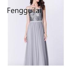 Elegant Sequins Dress Women Vestidos Verano Long Slim Robe Femme  Formal Luxury silver Glitter