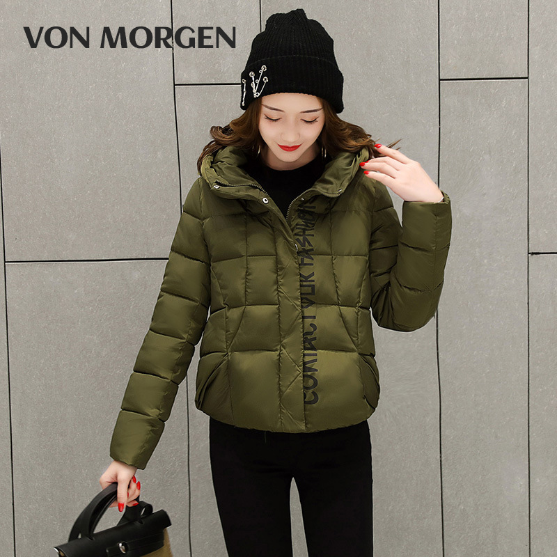 VONMORGEN 2017 Winter Jacket women  Womens Parkas Thicken Outerwear solid hooded Coats Short Female Slim Cotton padded basic top new 2017 winter cotton coats women jacket stitching slim parkas hooded feather padded female long outerwear abrigos mujer 1056