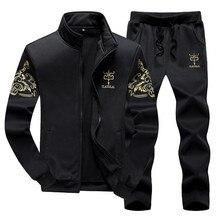 Мужской спортивный костюм, весенне осенняя одежда, куртка + штаны, толстовка, комплект из 2 предметов, мужской модный костюм, пальто, большой размер 8XL 9XL