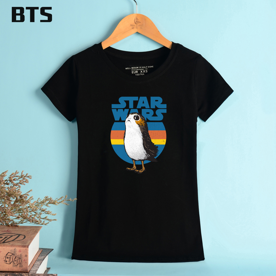 BTS Porg T Shirt Women Cotton O-Neck High Quality Comfortable Elastic Breathable T-shirts Women Summer Style Short Sleeve Casual