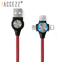 !ACCEZZ USB Cable 3 in 1 Fast Charging Sync Data Line LED For iPhone X 8 XS Plus Micro Type-C Xiaomi Huawei Charge