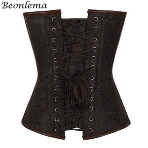 Image 3 - Beonlema Vintage Steel Boned Corset Bustier Metal Chain Korset For Women Sexy Waist Trainer Brown Steampunk Femme Bodice