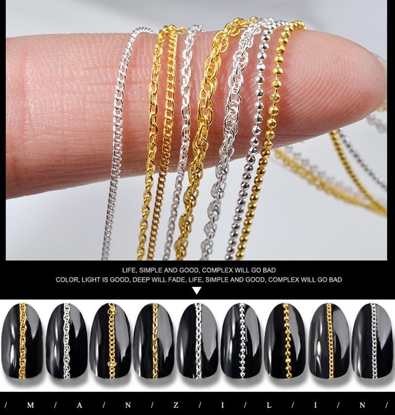 Elecool esmalte em gel uv, bola de aço de 9 estilos 3d para unhas, ouro e prata, 1 peça decoração artística de unhas faça você mesmo