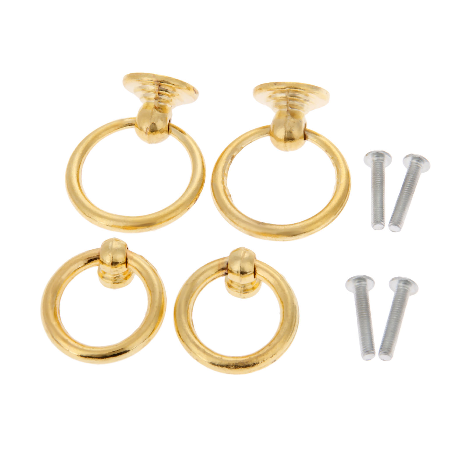 2Pcs Gold Zinc Alloy Cabinet Knob and Handle Jewelry Wood Box Furniture Handle Cupboard Drawer Door Ring Knob Furniture Hardware in Cabinet Pulls from Home Improvement