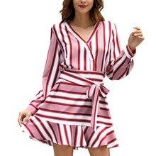 Women Summer Dress Fashion V-Neck Leisure Casual Striped Evening Party Dress Long Sleeve Mini Dress Women