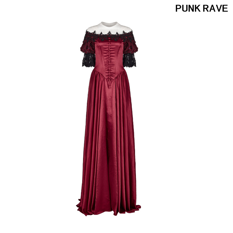 Gothique rouge Satin rétro bulle manches dentelle fleurs robe victorienne Vintage palais robe fête Halloween Club PUNK RAVE WQ-352LQF