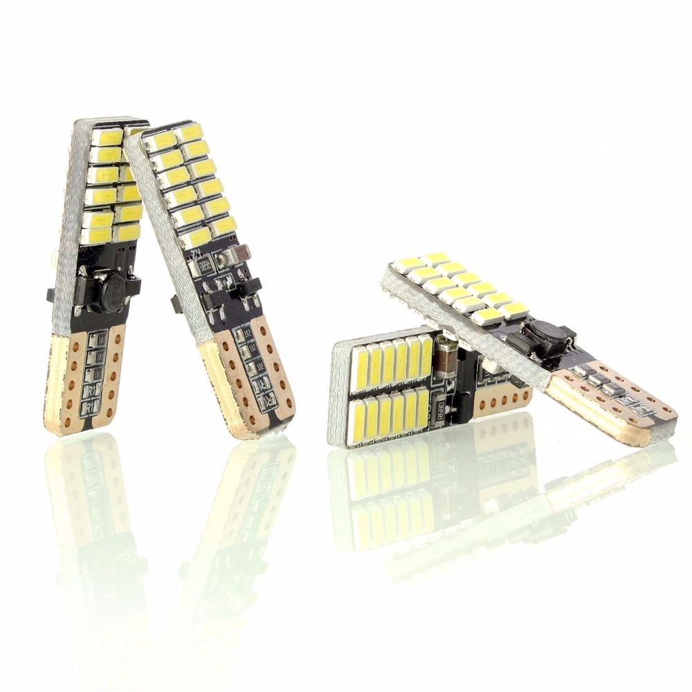 4x T10 W5W 4014 SMD 24 LED Veilleuse Canbus Sans Erreur - Blanc