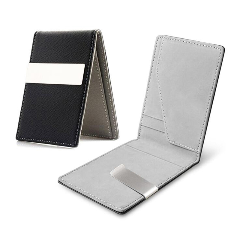 New Fashion Men's Leather Money Clips Wallet Multifunctional Thin Man Card Purses Women Metal Clamp For Money Cash Holder