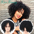 Afro Kinky Curly Synthetic Wigs For Black woman Heat Resistant Fiber Cheap Price No Lace Wig 1B# Color medium peruca hair wig