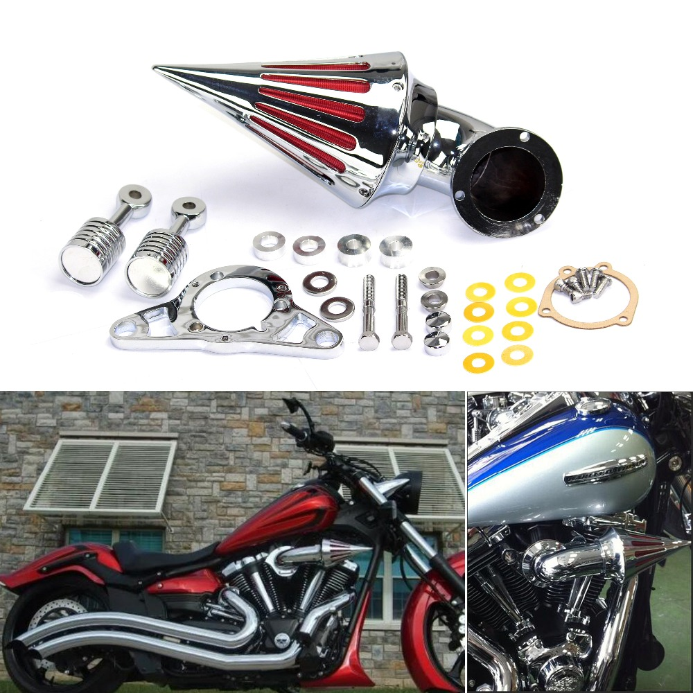 Motorcycle Cone Spike Air Cleaner Filter Cover Kit For Harley Dyna Street Fat Bob Touring Road King Glide  01-09 Softail Fat BoyMotorcycle Cone Spike Air Cleaner Filter Cover Kit For Harley Dyna Street Fat Bob Touring Road King Glide  01-09 Softail Fat Boy