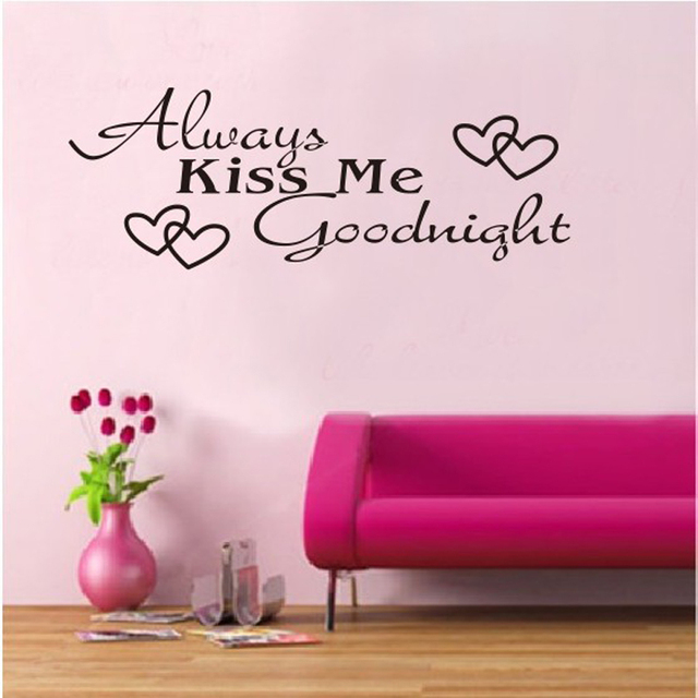 2pcs Always Kiss Me Goodnight Love Word Wall Sticker Home Decor Wedding Party