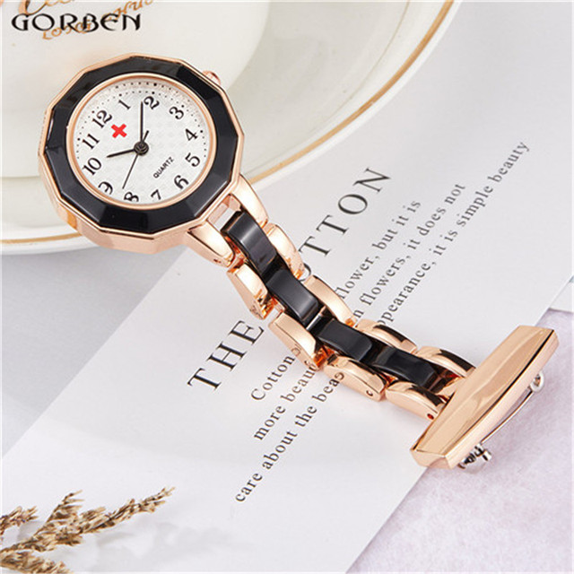 Fashion Design Nurses Watch Women Men Rose Gold Silver Pin Clip-on Pocket Watch