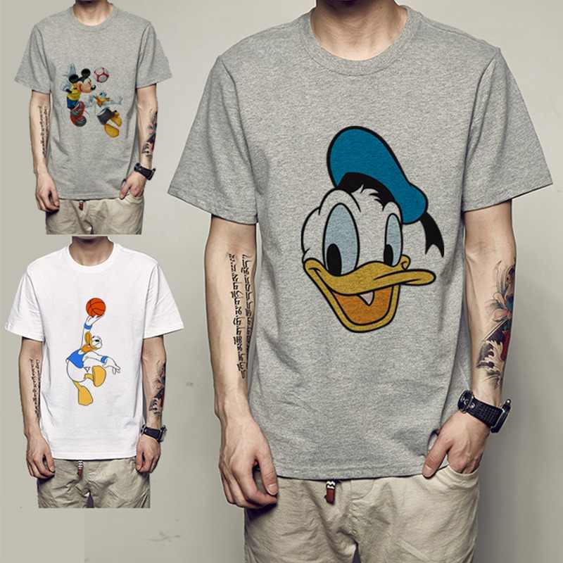 Summer Printing Cartoon Donald Duck Mickey Motion Cool pictures Fashion Crew Short Sleeve T-Shirt Casual Men's Tee Plus Size