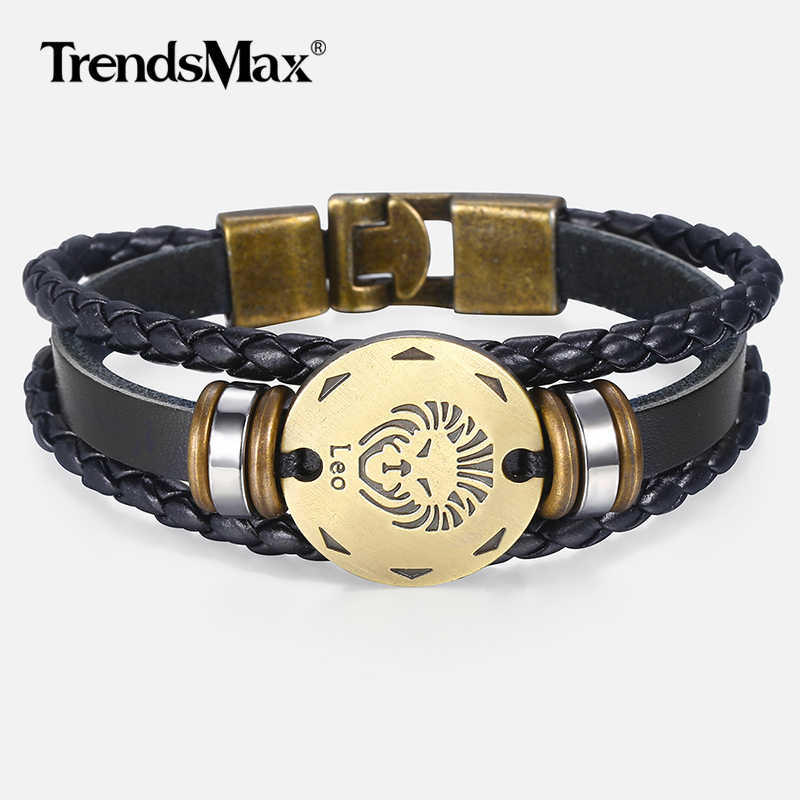 12 Zodiac Sign Horoscope Men's Leather Bracelet Vintage Retro Charm Wristband Male Jewelry Gifts for Men Leo Cancer Aries LBM136