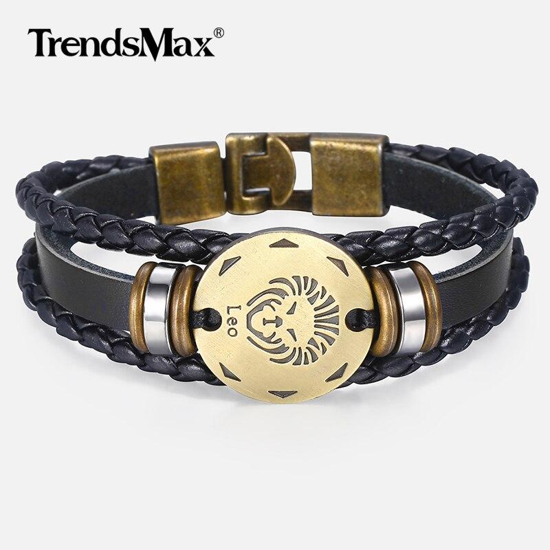 12 zodiaque signe Horoscope hommes Bracelet en cuir Vintage rétro charme Bracelet mâle bijoux cadeaux pour hommes Leo Cancer Aries LBM136