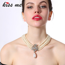 Party Pop Noble Sparkly Dress Accessories High-end Multilayer Beads Chain Women Simulated Pearls Necklace Factory Wholesale