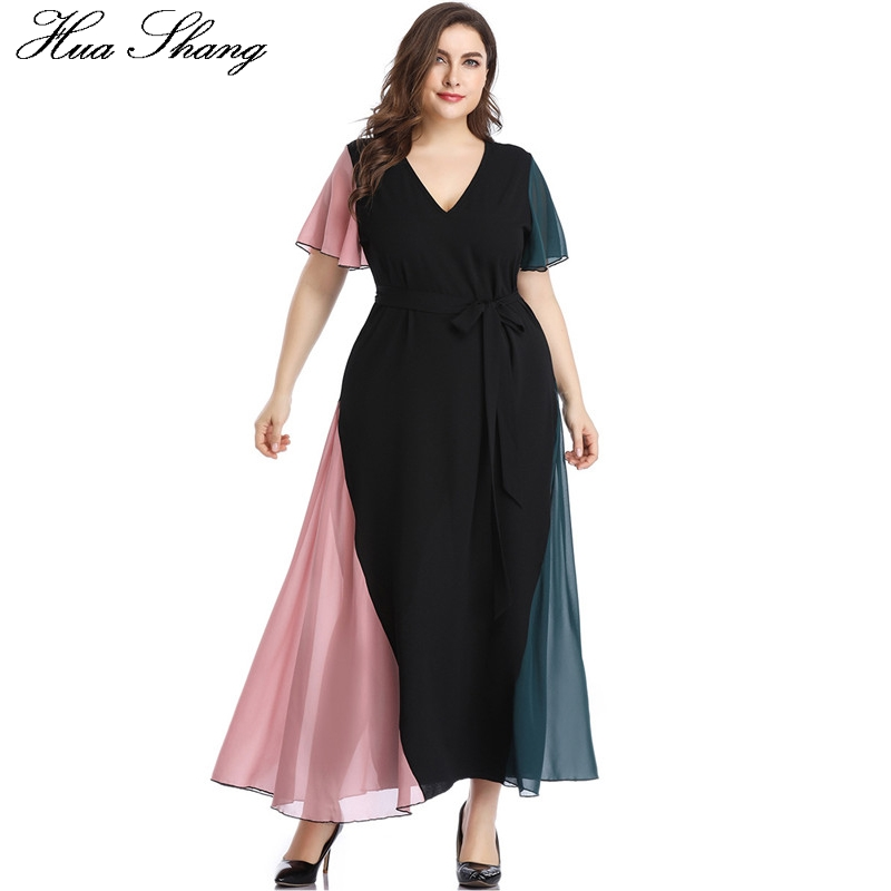 Summer Dress Beach 2019 Women V Neck Ruffles Short Sleeve Maxi Long Dress Plus Size Belted Multicolor Elegant Chiffon Dresses(China)