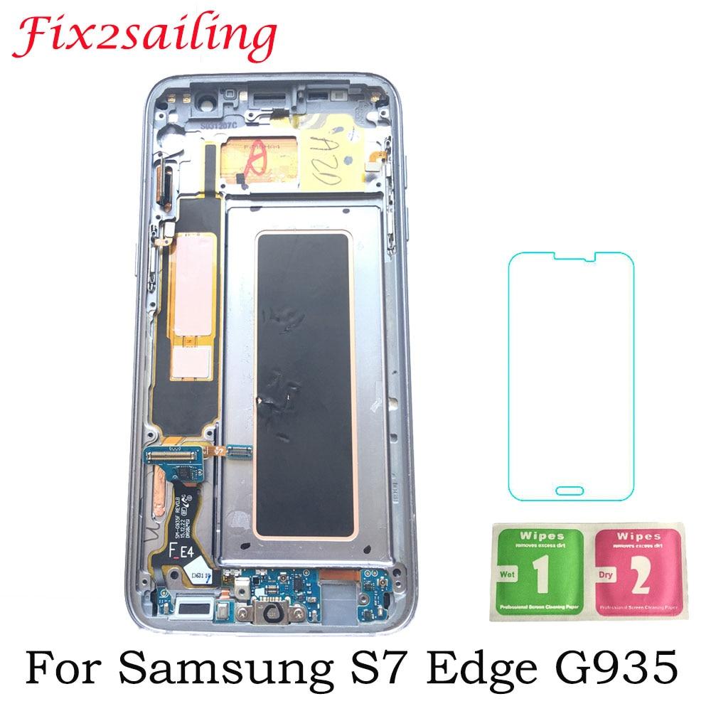 Super AMOLED LCD Pour SAMSUNG Galaxy S7 bord G935 G935F SM-G935F LCD Affichage à L'écran Tactile de Remplacement + Cadre 5.5'' écran