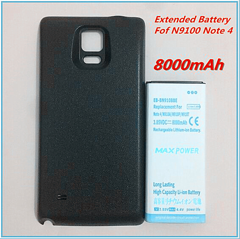 8000mAh Thicker Extended Battery EB-BN910BBE Note4 Extended Battery For Samsung Galaxy Note 4 N9100 N910F N910H N910+black Case
