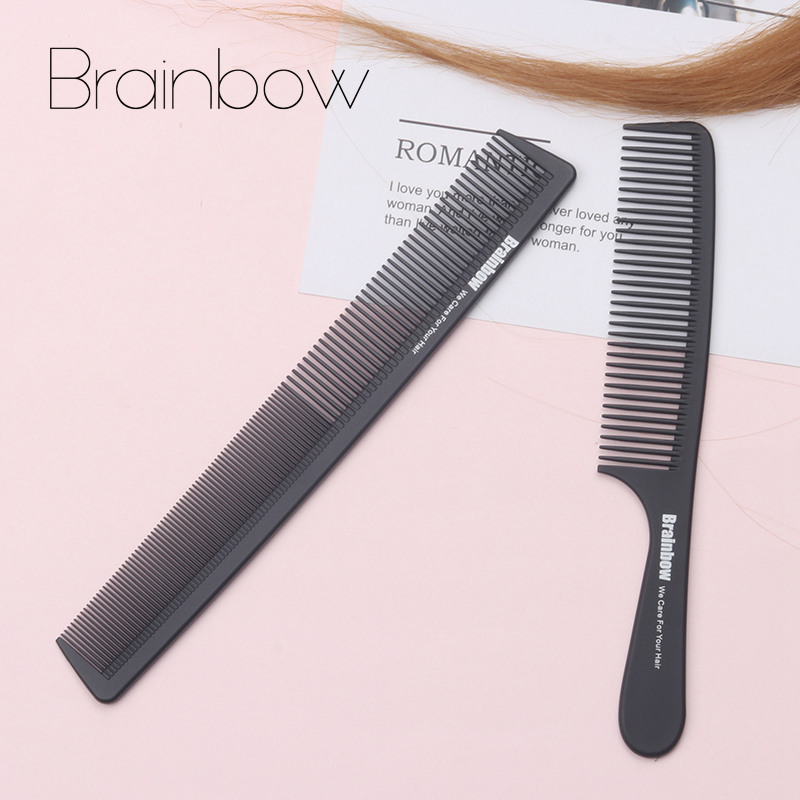 Brainbow 2pc Hair Comb Anti-statisk Carbon Hair Brush Professionell Pro Salon Hår Styling Tools Frisör Barbers Handle Brush