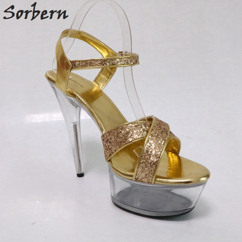 Sorbern Clear Shoes Summer Sandals Transparent Heels Shoes 15Cm / 5Cm High Heels Sandals Women Runway Shoes Sapato Feminino sorbern women sandals shoes real image pvc clear heels buckle strap 15cm heels crystal sandalias mujer 2018 summer shoes women
