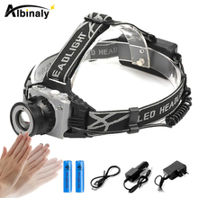 Super bright led headlamp Body Motion Sensor Headlight T6 waterproof headlight use 18650 battery