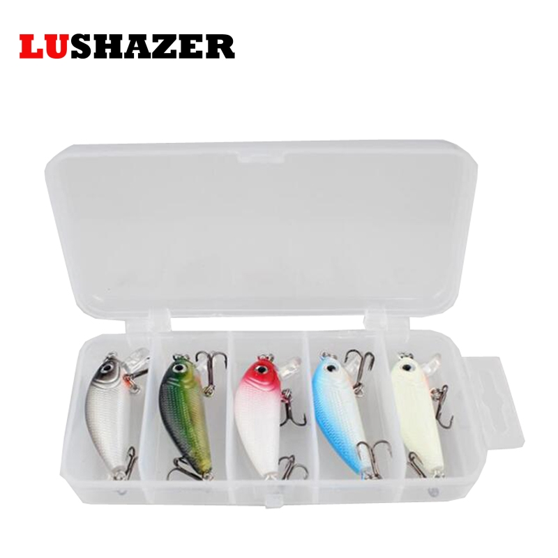 5pcs/lot LUSHAZER Minnow Fishing Lures minnow lure 4.5cm 4.7g carp fishing isca artificial bass lure fishing tackle with box 30pcs set fishing lure kit hard spoon metal frog minnow jig head fishing artificial baits tackle accessories