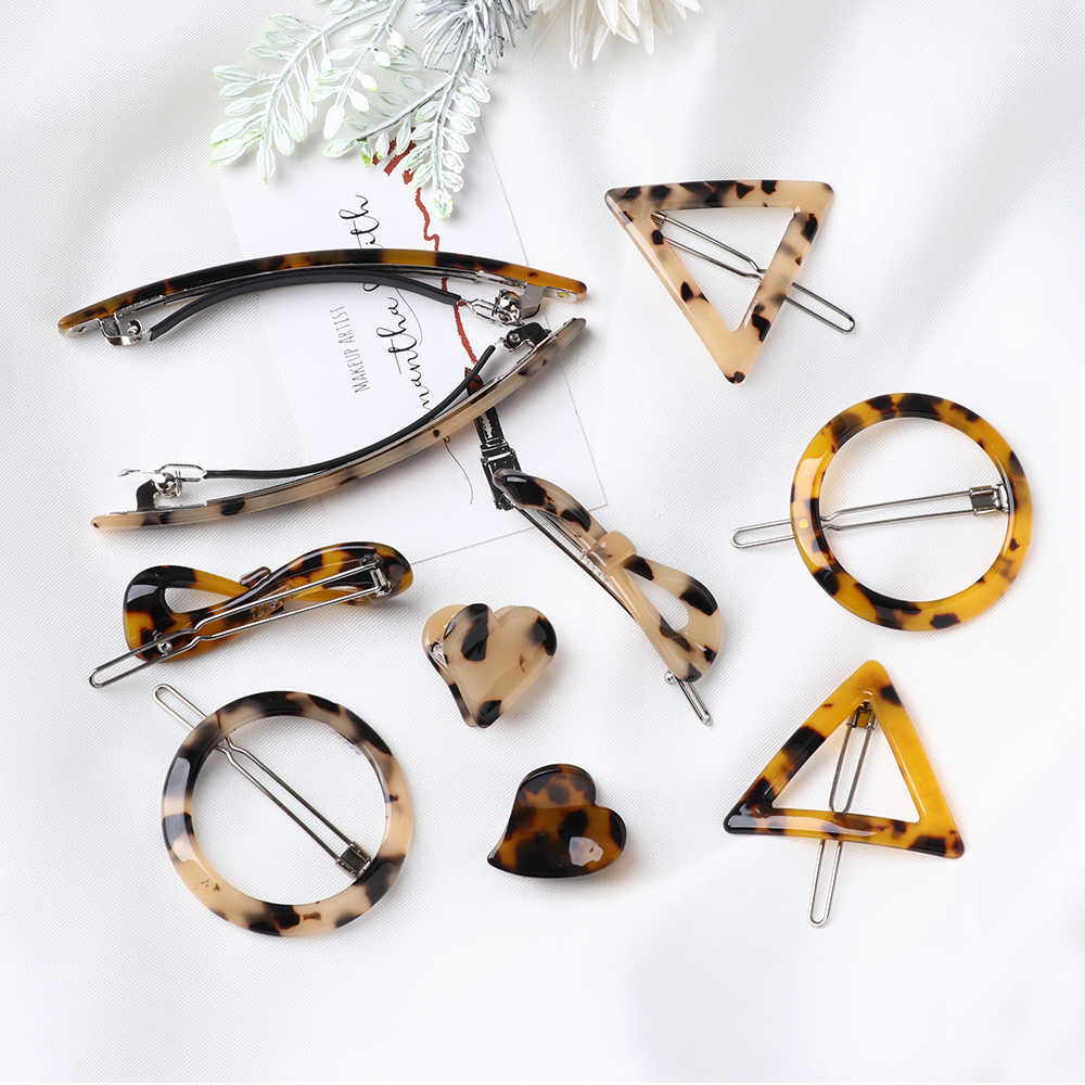 Vintage Japan Amber Acrylic Leopard Hair Clips Geometric Round Triangle Heart Shape Hairpin Barrettes Women Hair Styling Tool