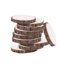 10pcs 10-12CM Wood Log Slices Discs Wooden Craft Embellishment for DIY Crafts Wedding Centerpcs