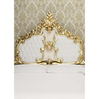 Golden bed back photo background damask patter wall photography backdrop for family photo studio photographic props S 1383