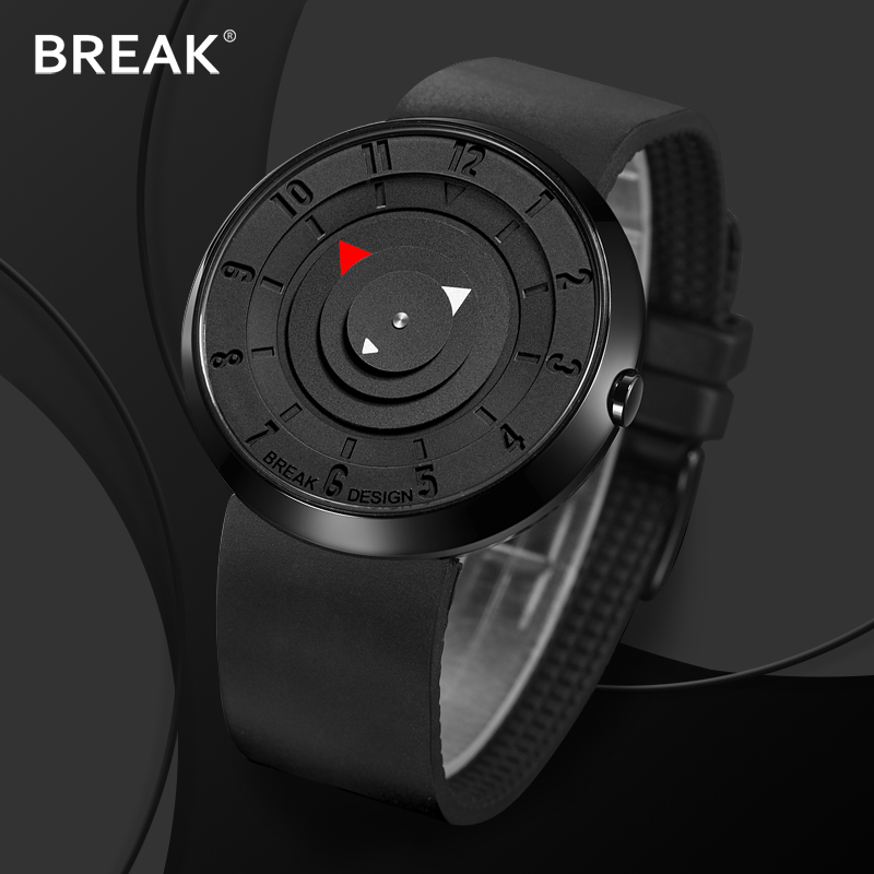 Break Top Men's Women Unisex Fashion Casual Sports Analog Quartz Wristwatch Creative Special Rubber Strap Watches Gift for Men