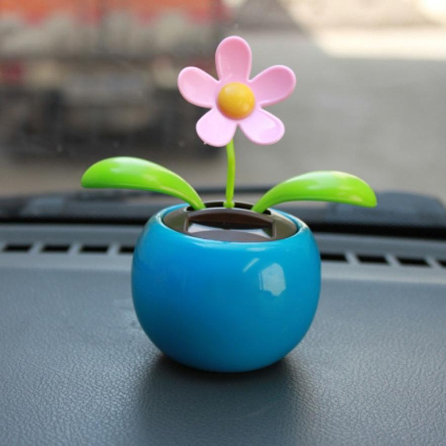 Home Decorating Solar Power Flower Plants Moving Dancing Flowerpot Swing Solar Car Auto Vehicles Display Toy Gift