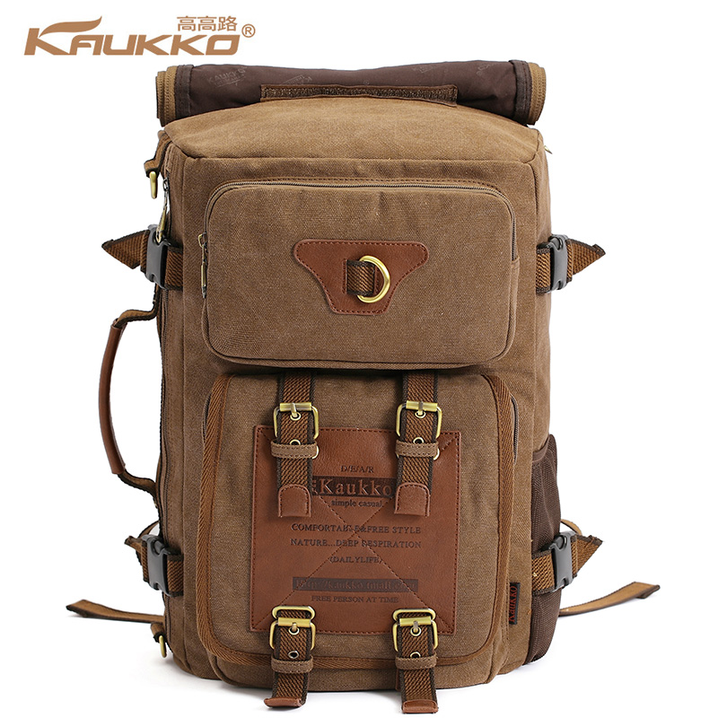 KAUKKO vintage men's backpacks rucksack canvas  shoulder bags luggage travel hiking camping backpack bag