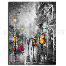 Melody Of Passion Dog Walk Under The Rain Canvas Posters Prints Wall Art Painting Decorative Picture Modern Bedroom Decoration