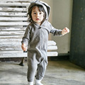 2017 Del Invierno Del Resorte Niños Del Bebé de Los Mamelucos Lindos del Conejo de Conejito Del Bebé Del Diseño Del Mameluco Encapuchado Del Bebé Niños y Niñas de Una sola pieza trajes