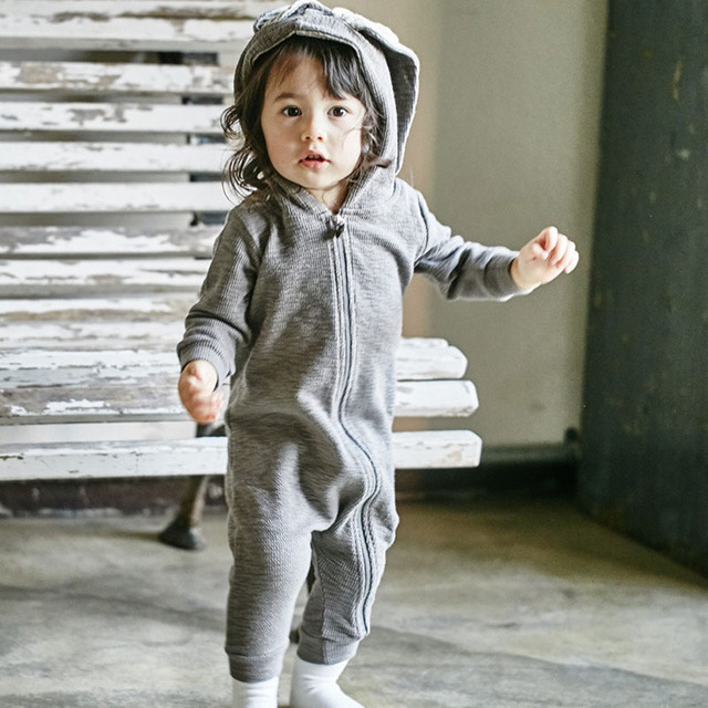 2017 Primavera Inverno Crianças Macacão de Bebê Bonito Coelho Coelho Do Bebê Do Projeto Romper Com Capuz Meninos e Meninas Do Bebê One-piece ternos