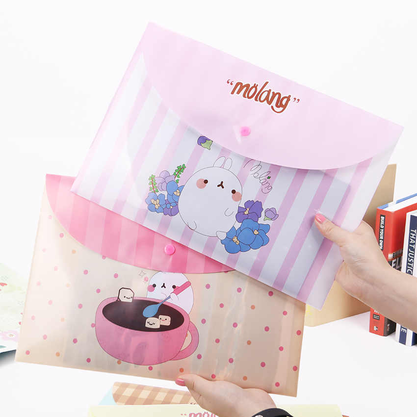 1PC Cute  Rabbit Plastic Document Bag Fresh Floral A4 Folders Office Storage File Folder Bag School Stationery Supplies