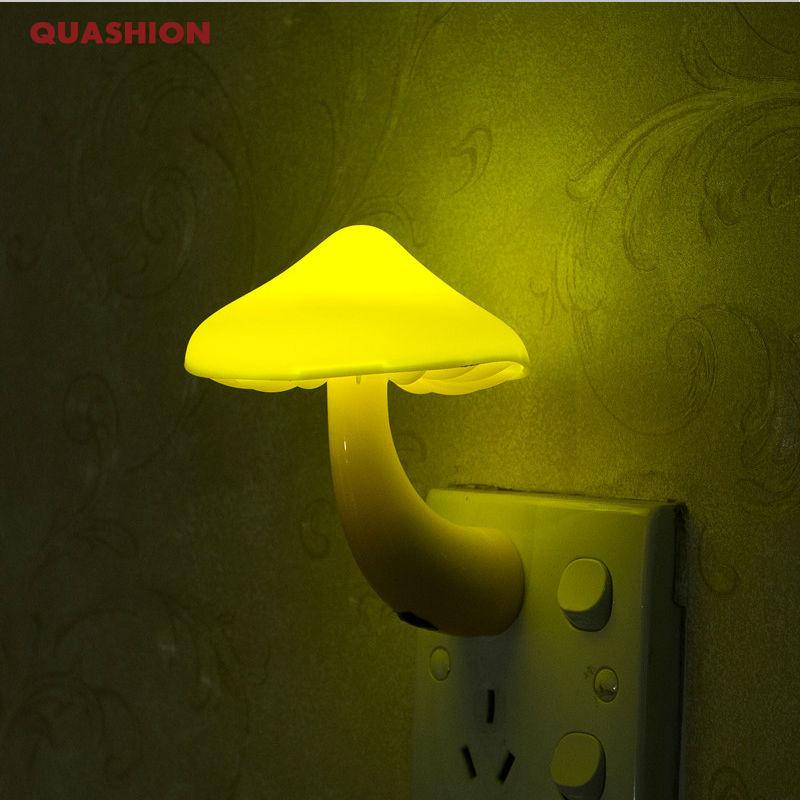 EU US Plug LED Night Light Mushroom Wall Socket Lights Lamp For Bedroom Home Decoration Light-controlled Sensor Lamp